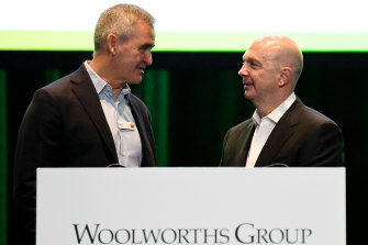 Woolworths chief executive Brad Banducci and chairman Gordon Cairns fronted a grilling on underpayments at Monday's AGM.