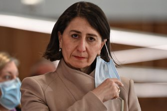 NSW Premier Gladys Berejiklian arrives at Tuesday morning's COVID-19 update.