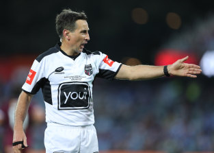 Referee Gerard Sutton lets the Maroons get away with murder in the decider.