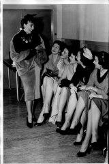 Gypsy Rose Lee and showgirls in Sydney, September 30, 1954