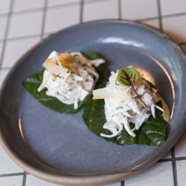 Lime-cured hapuka in betel leaf