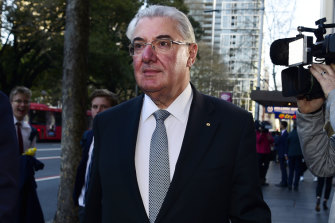 Lawyer Ian Robertson leaves the NSW Independent Commission Against Corruption (ICAC) public inquiry into allegations concerning political donations.
