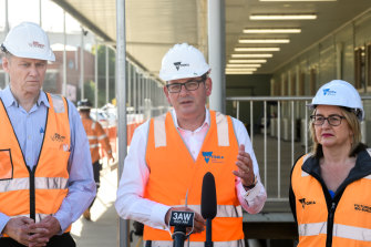 Rail Project chief executive Evan Tattersall, Premier Daniel Andrews and Transport Minister Jacinta Allan at soon-to-be North Melbourne station.