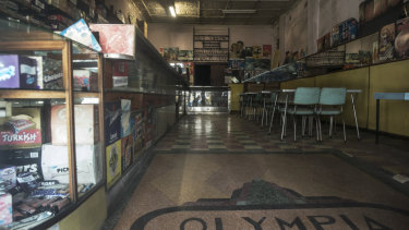 Inside the Olympia milk bar on Parramatta Road.