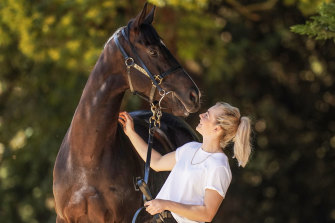 Melbourne Cup contender Persan and trackrider Nikki White.