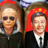 Matryoshka dolls depict new best friends Vladimir Putiin and Xi Jinping.
