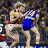 Essendon skipper Dyson Heppell in action against the Eagles.