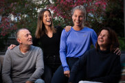 Australian sprinter Hana Basic (in blue), with her father Armin, sister Mia and mother Zana (right) at home in Melbourne.