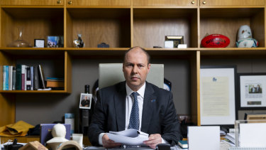 Treasurer Josh Frydenberg in his office ahead of this year's federal budget.