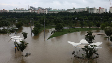 The flooded Han River Park in Seoul on Tuesday.