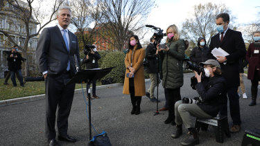 Robert O'Brien, national security adviser, makes a statement on troop levels to members of the media outside the West Wing of the White House in Washington.