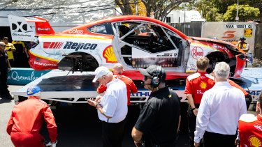 Scott McLaughlin's car, pictured here after the crash, has been ruled a writeoff by his team.