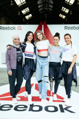 Amna Karra-Hassan, Amrita Hepi, Gigi Hadid, Kelly Cartwright and Jules Sebastian at the Reebok #BeMoreHuman event in Sydney.