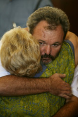 Peter Foster hugging his mother Louise Foster in Fiji in 2006.