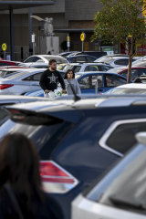 Drivers queued to find a parking spot at Chadstone on Sunday.