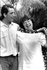 Carmen Lawrence and her son David after the swearing in ceremony at Government House, Perth on February 13, 1990.