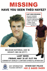 Updated posters of missing backpacker Theo Hayez.