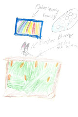 Eight-year-old Zack Wong sent this drawing of his Easter in isolation.