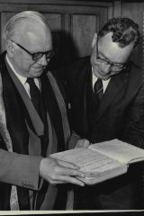 Sir SH Newton, the then Vice Chancellor of the University of Sydney, Professor SH Roberts, and R Bolumfield of Northbridge, after being given to the University in 1961