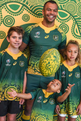 Kurtley Beale at the launch of the Wallabies 2019 World Cup away strip last month.