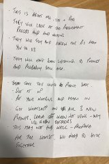 A note former V/Line boss James Pinder wrote for Transclean boss George Haritos after he was raided by IBAC.