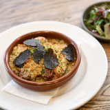 The French-style cassoulet with green leaves at Lord Cardigan.