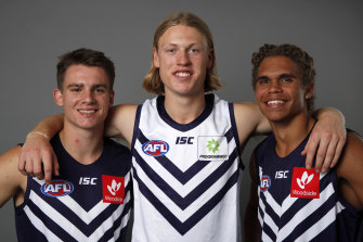 Fremantles first-round recruits, from lef tto right: Caleb Serong, Hayden Young and Liam Henry.