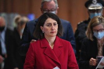 NSW Premier Gladys Berejiklian arriving at today's coronavirus briefing.