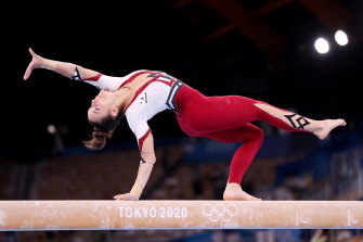 Germany's Pauline Schaefer-Betz competes in gymnastics, in the full-length uniform they have chosen for the Olympic competition.