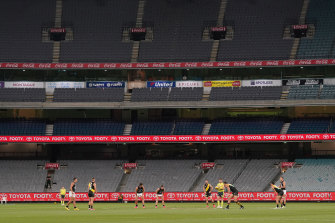 Richmond v Carlton at a near-empty MCG.