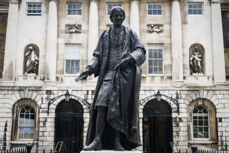 The statue of Sir Thomas Guy outside Guy's Hospital in central London.