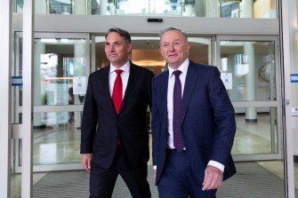 Anthony Albanese (right), with Richard Marles at the conference, said the pandemic had laid bare some unacceptable truths about an aged care system in crisis, insecure work, millions of Australians in low-paid jobs and women's voices going unheard.