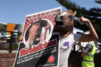 A protesters wearing a horses head outside Royal Randwick racecourse in Sydney earlier this month.