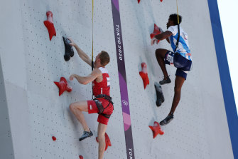 Jakob Schubert of Austria and Bassa Mawem of France in the incredibly underwhelming Olympic sport of climbing.