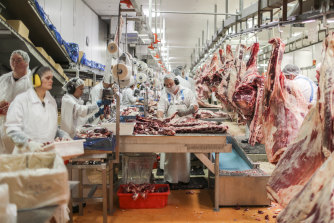 Boning room workers at the Northern Co-operative Meat Company abattoir in Casino.