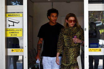 Tristan Sailor and his mother Tara Sailor at Wollongong Police Station on Sunday morning after his bail was granted.