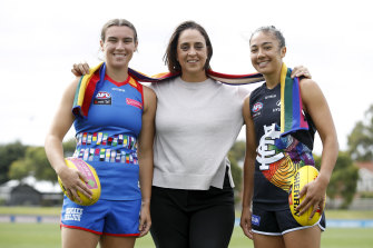 Bonnie Toogood, AFLW boss Nicole Livingstone and Darcy Vescio at the Pride Round launch in February.
