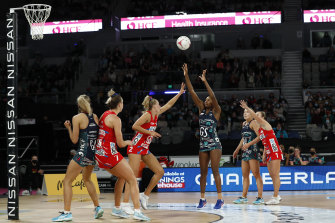 Mwai Kumwenda of the Vixens shoots during her side's loss to the Swifts on Saturday.