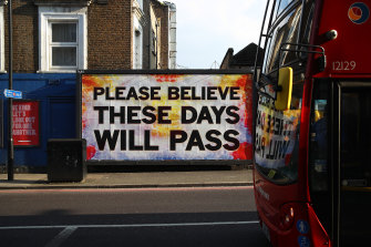 A sign on a deserted street in Hackney, London in April 2020.