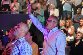 Prime Minister Scott Morrison during an Easter Sunday service at his Horizon Church at Sutherland in Sydney in 2019.