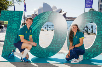 Edward Fernon and Jessica Fox pose during the Australian Olympic Committee's 100-day countdown launch.