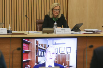 Senator Katy Gallagher questions Aged Care Minister Richard Colbeck via video-conference.