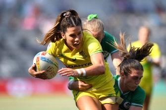 Charlotte Caslick taking on Ireland at Bankwest Stadium on Saturday.