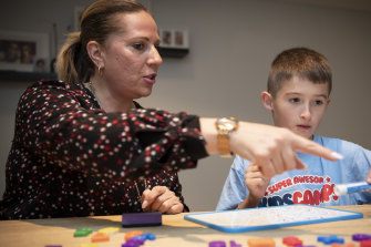 Sam Rogers, age 9, from St Charles Catholic Primary School in Waverley, is tutored in maths by Fay Ligonis from Super Kids Tutoring.