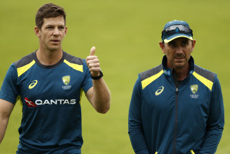 Tim Paine and Justin Langer during the 2019 Ashes in England.