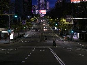 William Street heading towards Kings Cross is deserted on a Saturday night as lockdown begins.