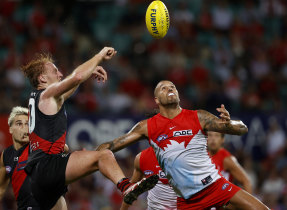 Lance Franklin match winning mark and goal during the Swans' win over Essendon.