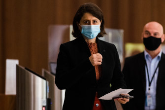 NSW Premier Gladys Berejiklian at her daily press conference on Friday..