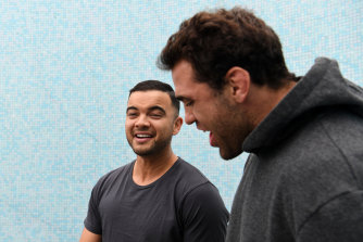 Dale Finucane, right. with Guy Sebastian during Blues camp in 2019. Finucane will perform Simply The Best at the NRL season launch next week.