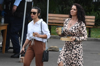 Jessica Camilleri's sister Kristy Torrisi (left) outside Darlinghurst court on Wednesday.